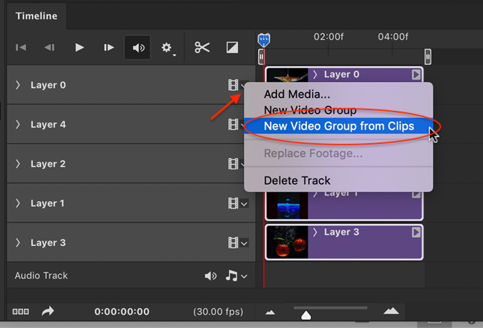 Photoshop screenshot group tracks