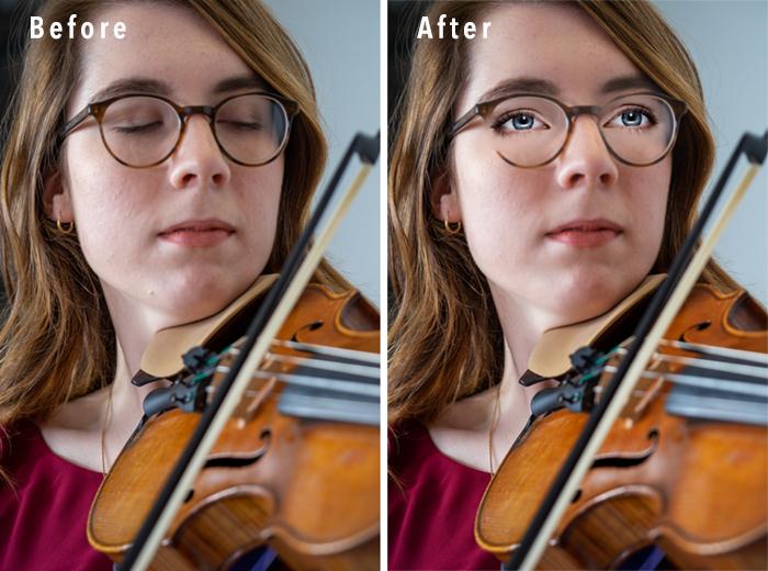 Comparação de retrato do Photoshop Elements