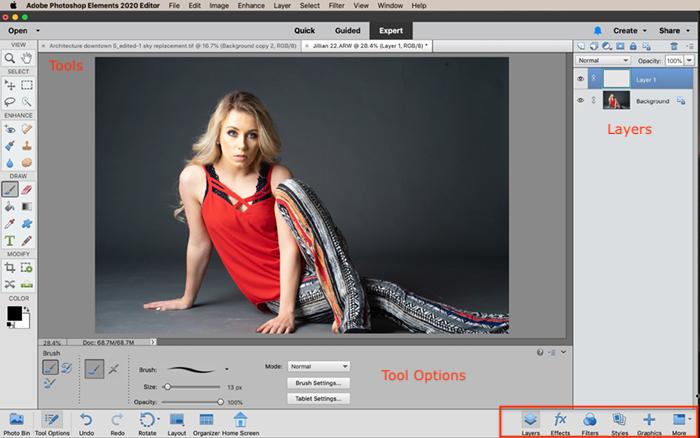captura de tela do espaço de trabalho do especialista em elementos do photoshop