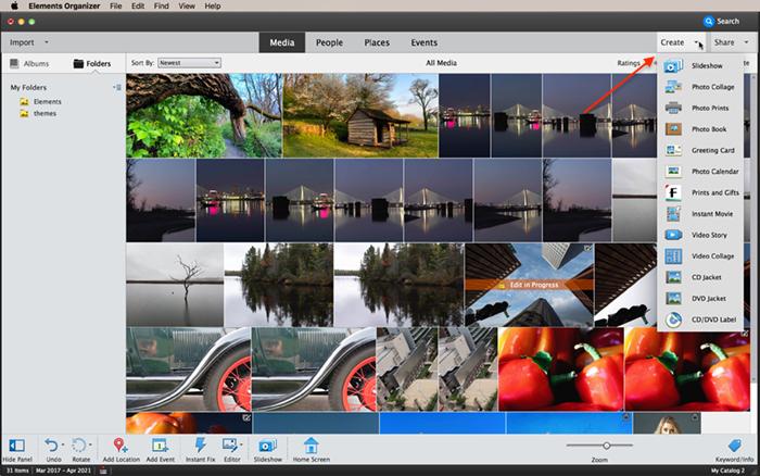 captura de tela do organizador de elementos do photoshop criar menu