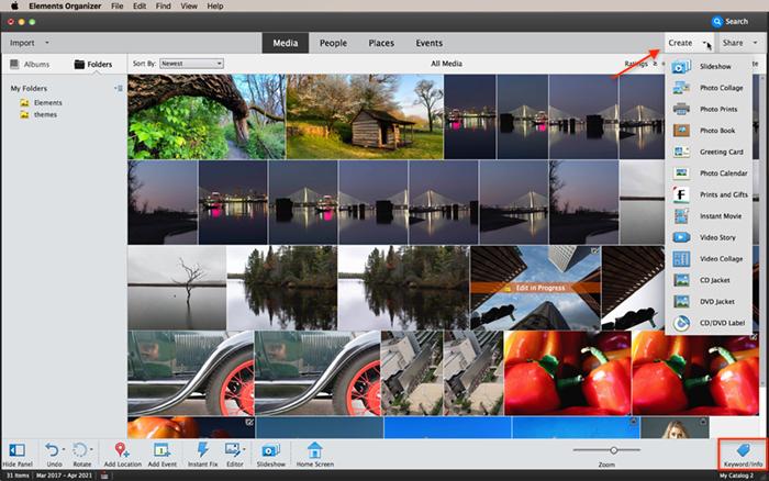 Captura de tela da área de trabalho do Photoshop Elements Organizer
